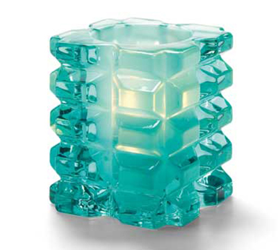 Hollowick 5151AQSL Faceted Votive Lamp w/ Cube Style, 3x3.25-in, Glass, Aqua Satin Linen