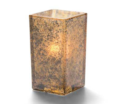 Hollowick 6109AG Square Quad Votive Lamp For HD15 & HD8, 2.5x4.38-in, Glass, Antique Gold