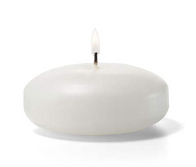 Hollowick FC3W-72 Floating Candle, 3x1.19-in, Wax, White