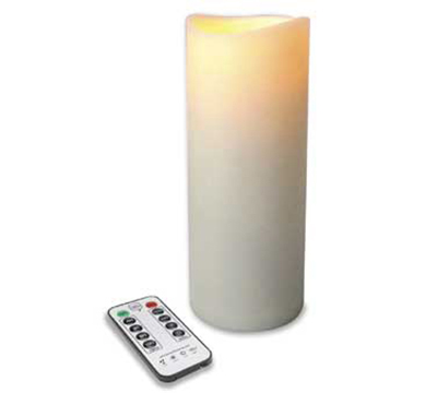 Hollowick OP39ITR 4-Flameless Outdoor Pillars w/ Remote, LED & Dual Timer, 9x3-in