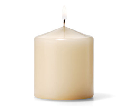 Hollowick P3X3I-12 Pillar Candle, 3x3-in, Wax, Ivory