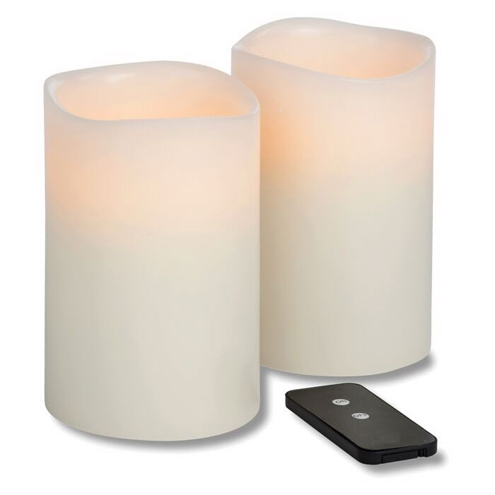 Hollowick WP46ITR TruFlame LED Pillar Candle w/ Remote, 4-in Diameter,