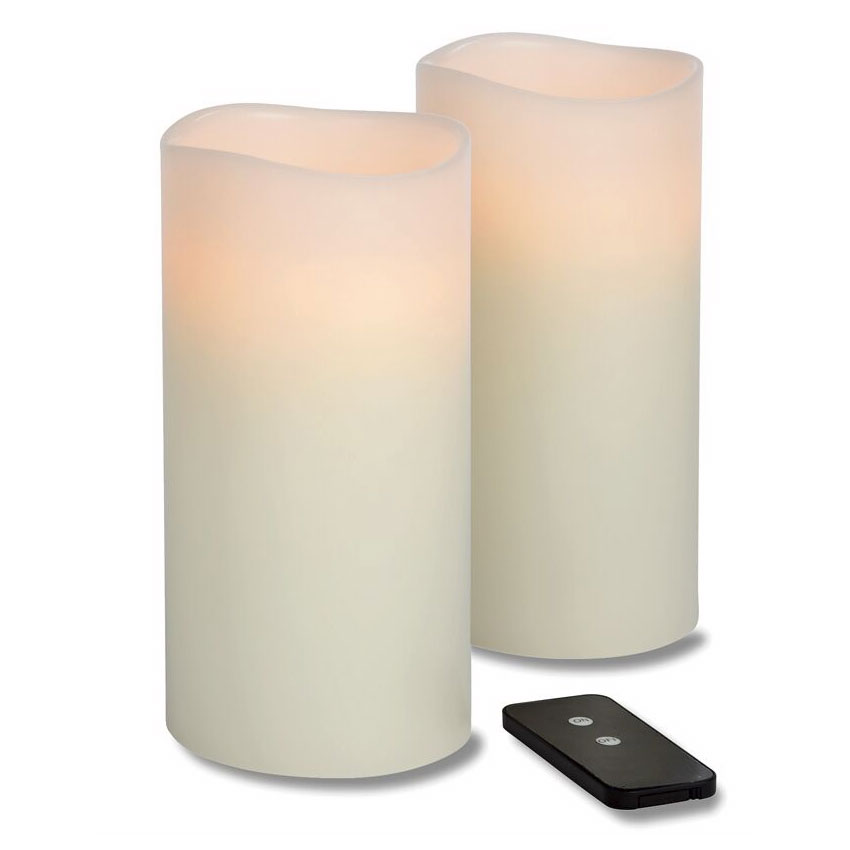 Hollowick WP48ITR TruFlame LED Pillar Candle w/ Remote, 4-in