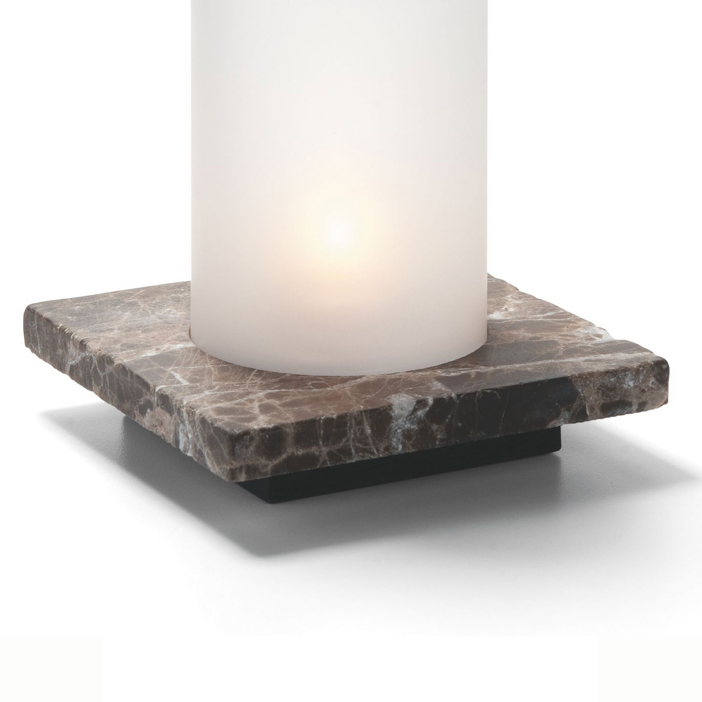 Hollowick ZEN-DEM Square Lamp Base, Single, Stone, Dark Emperador, 4x4.88-in