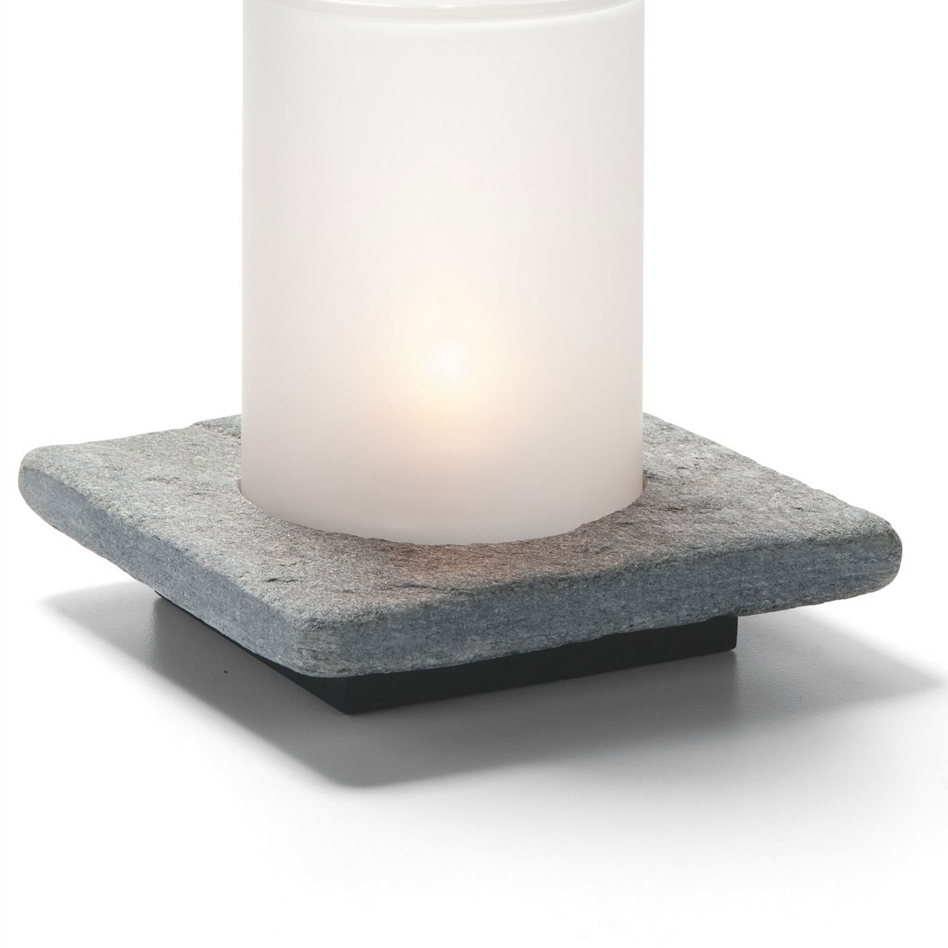 Hollowick ZEN-GSL Square Lamp Base, Single, Stone, Grey Slate, 4x4.88-in