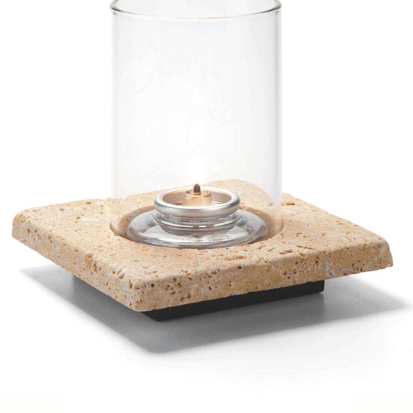 Hollowick ZEN-GTR Square Lamp Base, Single, Stone, Gold Travertine, 4x4.88-in