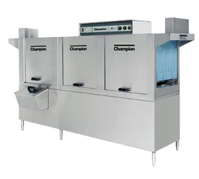 Champion 100HDPW 5753 Conveyor Hi-Temp Dishwasher w/ 2-Tanks & 36-in Prewash, 278-Racks/hr, 575/3V