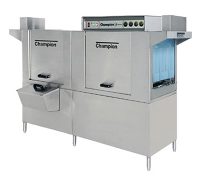 Champion 80DRHDPW 5753 Conveyor Hi-Temp Dishwasher w/ 1-Tank & 36-in Prewash, 208-Racks/hr, 575/3V