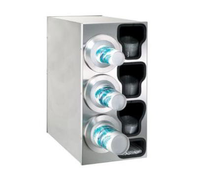 Dispense-Rite BFLC3LSS Cup Dispensing Cabinet, (3) 8-44 oz Cups on Left, (3) Lid Chutes, (1) Straw