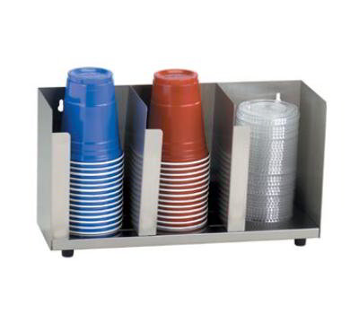 Dispense-Rite CTLD15 Lid/Cup Organizer, Adjustable, 3 Section, 15-1/2 in W, Stainless Steel