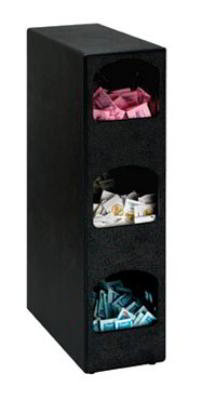 Dispense-Rite HVCD3BT Packeted Condiment Organizer 3 Section 24-1/4 in H Polystyrene Black Restaurant Supply