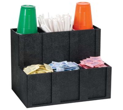 Dispense-Rite MCD-6BT 6-Section Organizer w/ Removable Dividers, 11-3/4 x 15 x 10-in, Black
