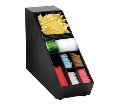 Dispense-Rite NLO-SUB-1B Narrow Lid Straw Condiment Organizer, Polystyrene, Black