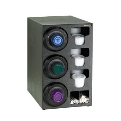 Dispense-Rite SLRC3LBT Cup Dispensing Cabinet, (3) 8-44 oz Cups on Left, (3) Lid, (2) Straw, Black