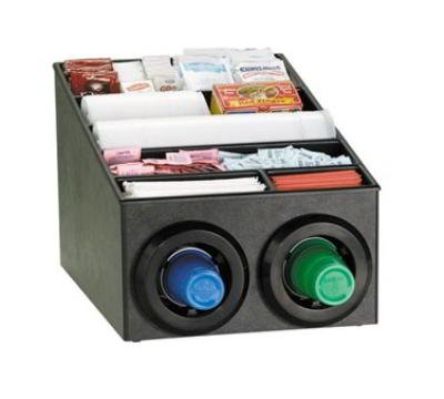 Dispense-Rite STLSL2X1BT Cup Dispenser Cabinet, (2) 8-44 oz Cups, Lids, Straws, Black Polystyrene