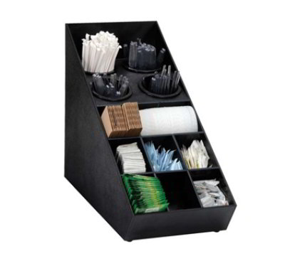 Dispense-Rite SWCH-1BT Silverware Condiment Organizer, 13-Section, Polystyrene, Black