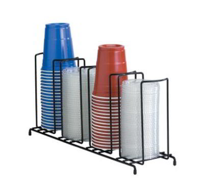 Dispense-Rite WR4 Lid/Cup Organizer, Wire Rack, 4 Section: (4)4-1/8 in, Black
