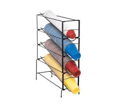 Dispense-Rite WRCT4 Cup Dispenser, Wire Rack, 4 Section, 6-44 oz Cups, Black