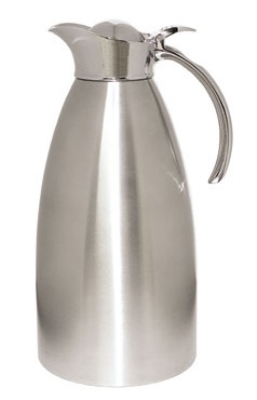 Service Ideas 98220BS 2-liter Coffee Server w/ Flip Top Stopper Lid, Brushed St