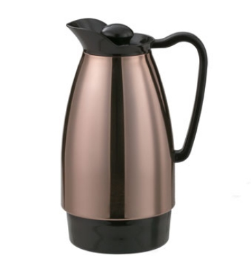 Service Ideas CGC101CP 1-liter Carafe w/ Dripless Spout, Glass Interior, Copper,