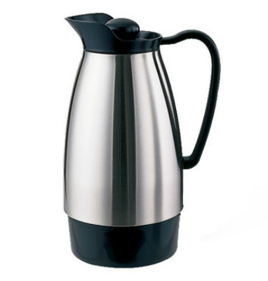 Service Ideas CGCS10SS 1-liter Carafe w/ Stainless Interior, Brushed Stainless, Blac