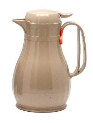 Service Ideas ECO6LA .6-liter Server w/ Push Button Lid, Styrenic Resin, Latte Brown