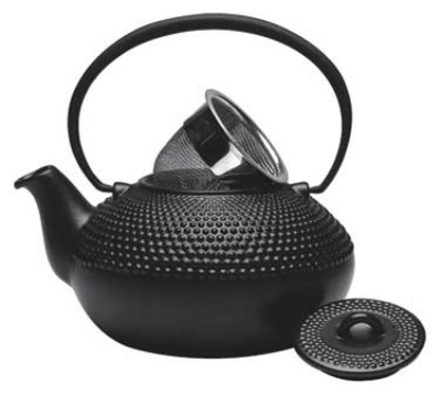 Service Ideas L002Z 1.2-liter Ceramic Teapot w/ Infuser Basket, Black