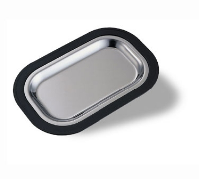 Service Ideas LO12BLC Complete Rectangular Platter Set, Large, Stackable, Black