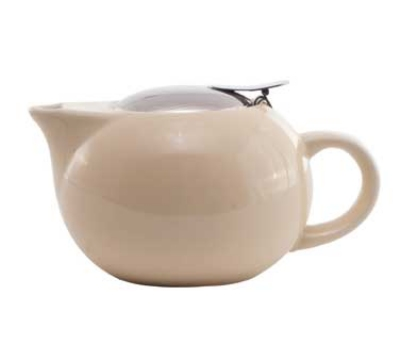 Service Ideas TPC16CM 16-oz Teapot w/ Lid, Infuser Basket, Cream Ceramic
