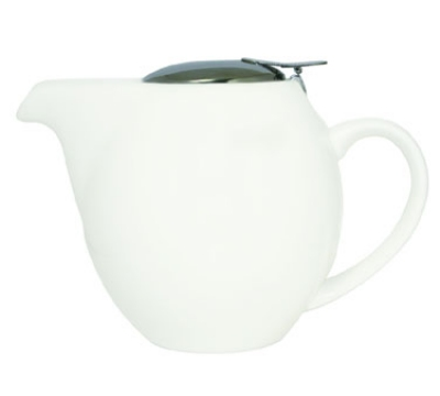 Service Ideas TPCV16WH 16-oz Oval-Style Teapot w/ Lid & Infuser Basket, White Ceramic