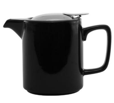 Service Ideas TPCW16BL 16-oz Washington-Style Teapot w/ Lid & Infuser Basket, Black