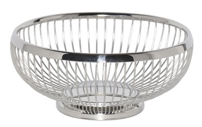 Service Ideas WBR7PS 7-in Round Wire Basket w/ Weighted Base, Polished Stainles