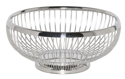 Service Ideas WBR9PS 8.5-in Round Wire Basket w/ Weighted Base, Polished Sta