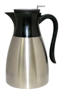 Service Ideas WES1SS 1-liter Carafe w/ Push Button Lid, Black Handle, Stain
