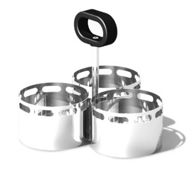 Service Ideas SM-72 Snack Caddy w/ 3-Compartments, 3.25 x 2.5-in Bowls, Stainless, Mi