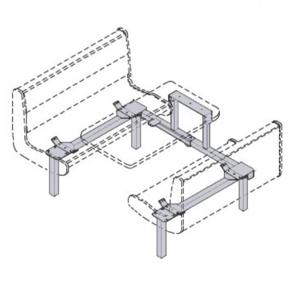 Waymar Industries 0735 Islander Support Frame Only Wall Style Seats (59-61) & Table (24 x 59,61) Restaurant Supply