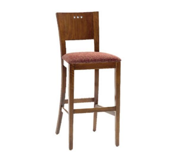 Waymar Industries B094 Napa Bar Stool Wood Panel Back w/3 Circle Cutouts 1-1/2 in Upholstered Seat Restaurant Supply