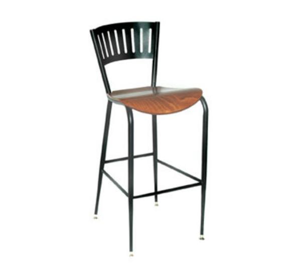 Waymar Industries B1318LAWS Uptown Bar Stool Metal Back w/ Slats Solid Beech Seat Restaurant Supply