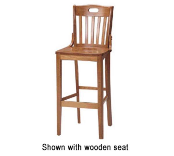Waymar Industries B15HD School House Bar Stool Slat Back w/ Hand Hold & Brace 1-1/2in Upholstered Seat Restaurant Supply