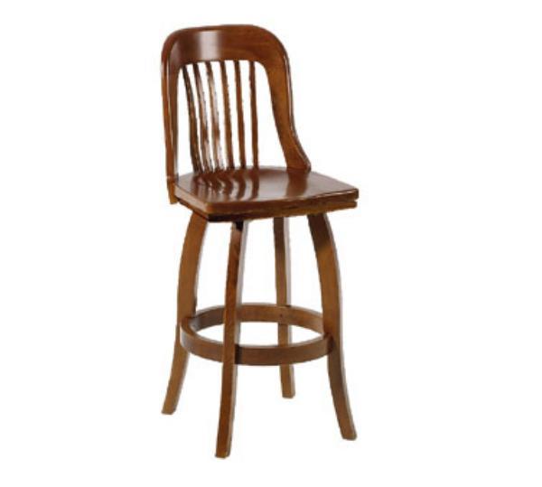 Waymar Industries B314S Federal Bar Stool Wood Spoke Back Upholstered Seat Swivel Restaurant Supply