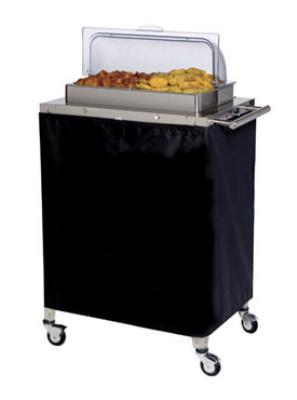 Cadco CBC2RT Buffet Warming Cart, Holds (2) 1/2-Size Steam Pans, Rolltop Lid