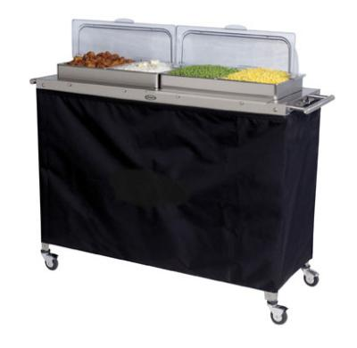 Cadco CBC4RT Buffet Warming Cart, Holds (4) 1/2-Size Steam Pans, Rolltop Lid