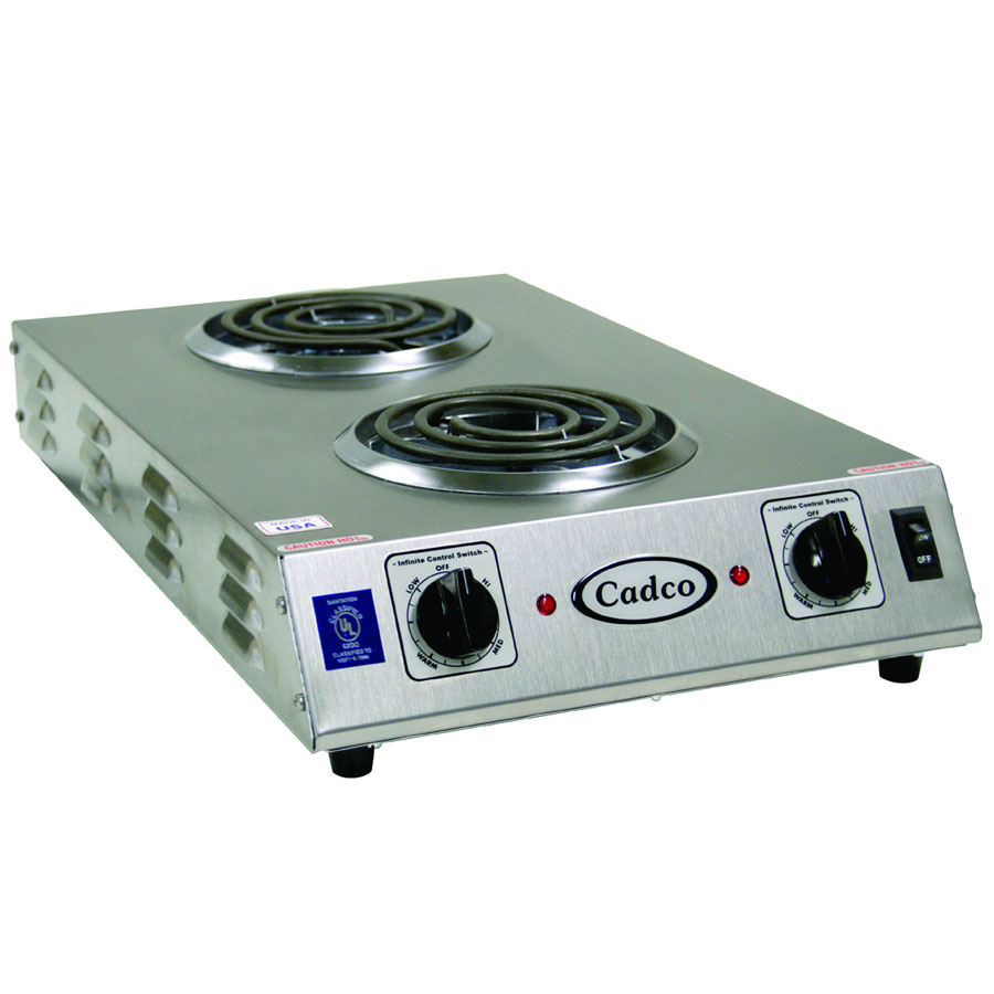 Cadco CDR-1TFB Counter Hot Plate w/ Double Burner, 6-in Tubular Elements