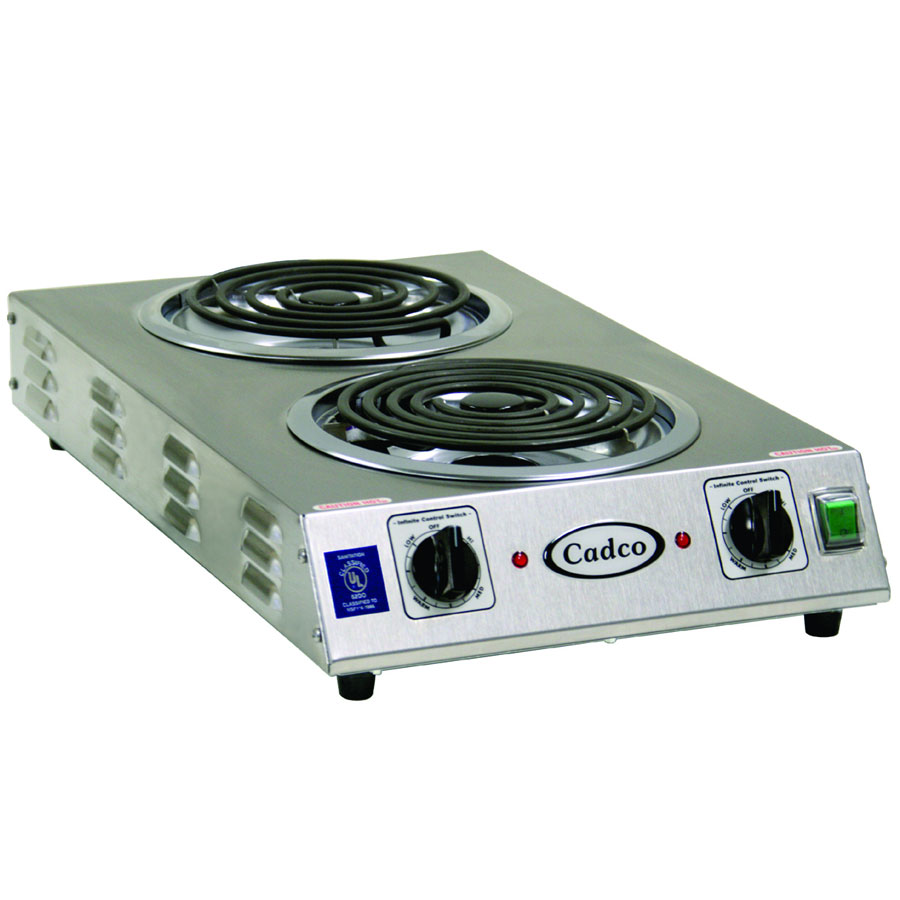 Cadco CDR-2TFB Counter Hot Plate w/ Double Cast Iron, Burner, 8-in Tubular Element