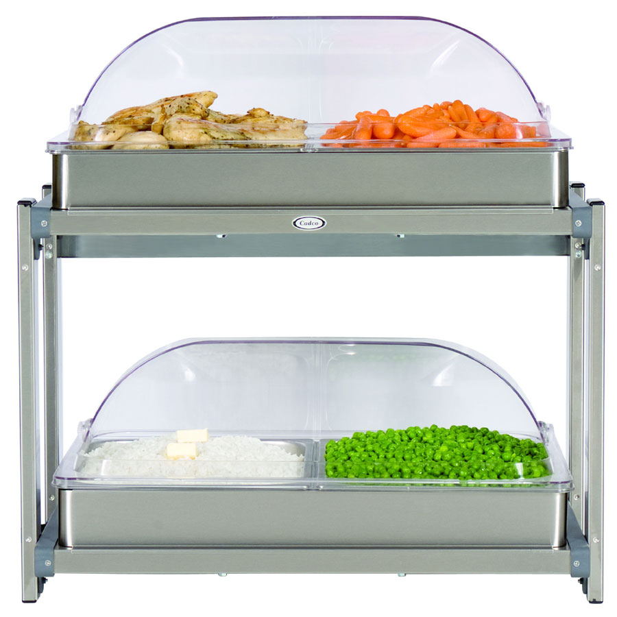 Cadco CMLB24RT Multi-Level Buffet Warmer, (2) Clear Low Profile Roll Top Lids