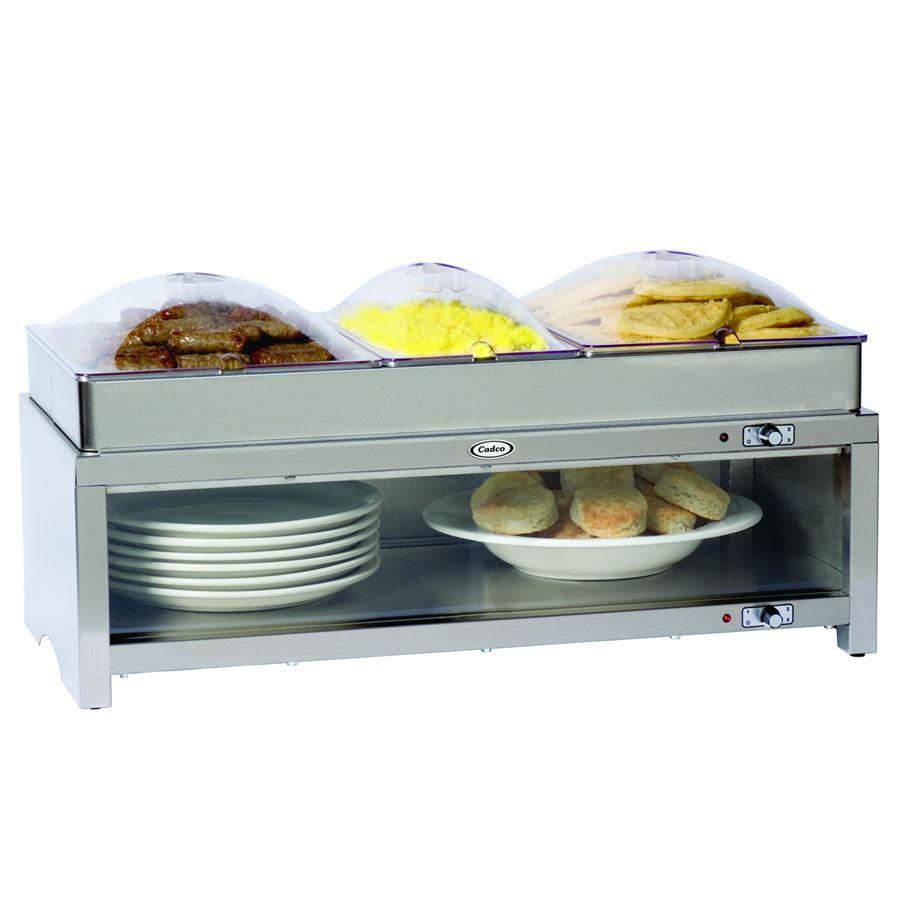 Cadco CMLBCSLP Warming Cabinet w/ Clear Lid, (2) 1/2 Size Pans, (1) 1/3 Size Pans