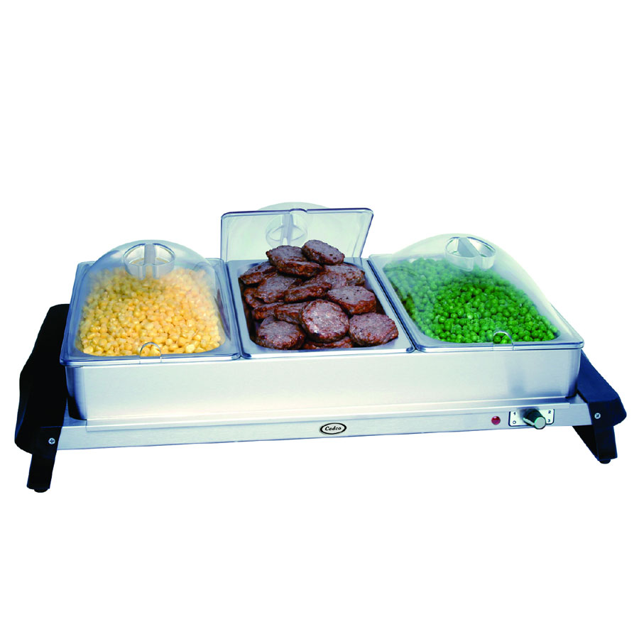 Cadco WTBS3P Countertop Triple Buffet Server w/ Warming Base & Pan, Clear Lid, 120 V
