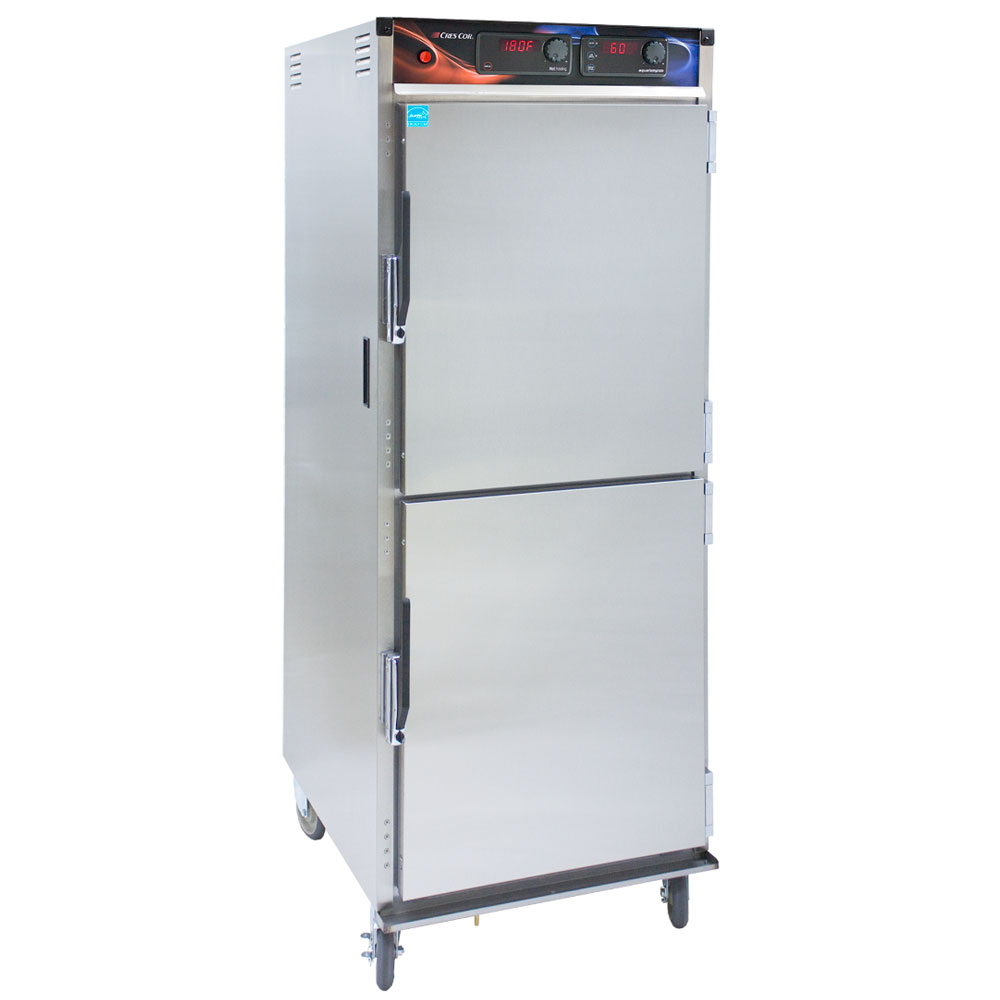 Cres Cor H-137-WSUA-12D Mobile Heated Cabinet w/ 12-Chrome Slides, AquaTemp, LED, Stainless