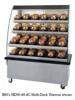 BKI MDW-48-4VT 2301 48-in Hot Food Self Service Case w/ 4-Shelves & 24-Domes, Countertop, 230/1 V