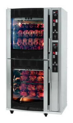 BKI VGG-16-C 2403 2-Deck Rotisserie Oven w/ (80) 3-lb Chicken Capacity, Curved Glass Door, 240/3 V